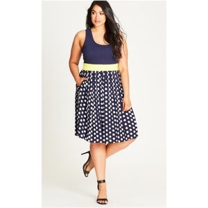 [City Chic] Plus Size Polka Dot Fit + Flare Dress